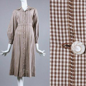 L/XL Vintage 30s Plaid Cotton Shirtwaist Dress